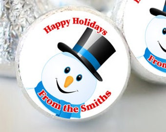 108 Frosty Snowman Personalized Christmas Hershey Kisses Labels - Hershey Kiss Stickers Christmas - Hershey Kiss Labels - Christmas