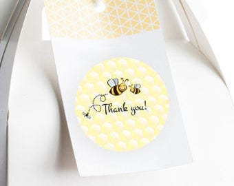 Bumble Bee Baby Shower Favors - Bumble Bee Party Favors - Bumble Bee Birthday Favors - Round Stickers - Baby Shower Stickers - Thank You