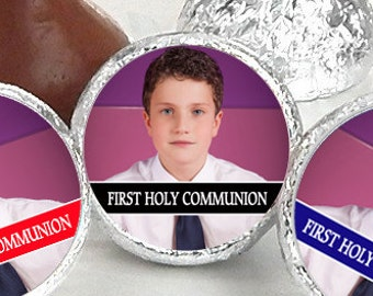 108 First Holy Communion, Kiss Stickers, Boys Holy Communion Stickers, Communion Favors, Party Favors, Candy Kiss Sticker