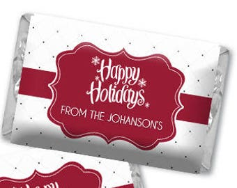 Personalized Snowflakes Happy Holidays Hershey's Chocolate Wrappers - Nugget Wrappers - Nugget Candy Stickers - Miniature Candy Wrappers