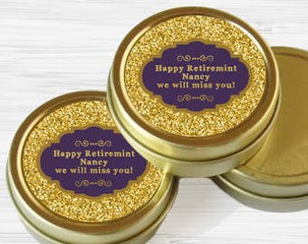 80 Personalized Retirement Favor Tins - Gold Retirement Favor Tins - Gold Mint Tins - Retirement Favors - Retire Mints - Retirement Mints