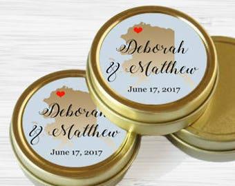 Personalized Alaska State Wedding Favor Tins - Gold Wedding Favor Tins - Gold Mint Tins - Wedding Favors - Mint Favors - Mints