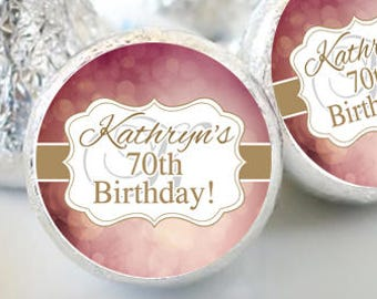 108 Birthday Hershey Kiss® Stickers - Birthday Hershey Kiss Stickers- Gold Birthday Kiss Labels - Kiss Seals - Candy Stickers - Mauve & Gold