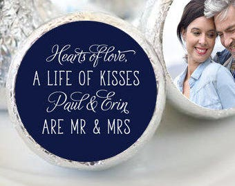 108 Photo Hershey Kiss® Stickers - Hershey Kiss Stickers Wedding - Personalized Hershey Kiss Labels - Photo Hershey Kiss Seals - A life of..