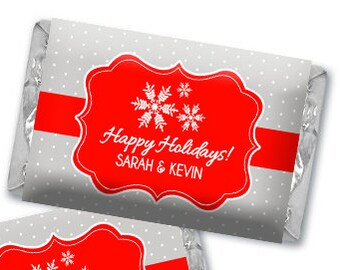 Personalized Snowflakes Christmas Hershey's Chocolate Wrappers - Nugget Wrappers - Nugget Candy Stickers - Miniature Candy Wrappers