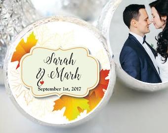 108 Fall Bridal Shower Hershey Kiss Stickers  - Bridal Shower Kiss Labels - Fall Leaves Kiss Labels - Bridal Shower Decor - Fall Wedding