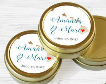 Personalized Hawaii State Wedding Favor Tins - Gold Wedding Favor Tins - Gold Mint Tins - Wedding Favors - Mint Favors - Mints