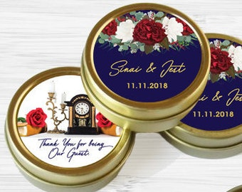 12 Personalized Favor Tins - Gold Wedding Favor Tins - Gold Mint Tins - Wedding Favors - Wedding Decor - Beauty and the Beast Inspired