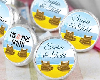 Beach Chair Hershey Kiss® Stickers - Hershey Kiss Stickers Wedding - Personalized Hershey Kiss Labels - Wedding Favors