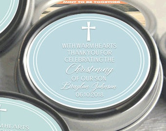 First Holy Communion, Candy Tins, Christening Mint Tins, Baptism Favors, Party Favors, Candy Favors, Christening Favors