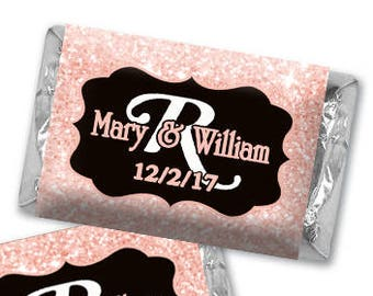 Personalized Chocolate Wrappers -  Faux Rose Gold Glitter Heart Hershey Stickers - Nugget Wrappers, Miniature Chocolate Wrappers