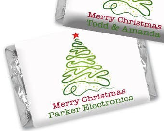 Personalized Merry Christmas Hershey's Chocolate Wrappers - Nugget Wrappers - Nugget Candy Stickers - Miniature Candy Wrappers - Tree