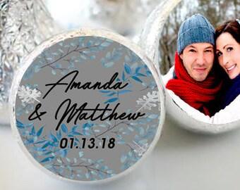 Winter Wedding Hershey Kiss® Stickers - Hershey Kiss Stickers - Hershey Kiss Labels -  Candy Stickers - Blue Wreath Hershey® favors