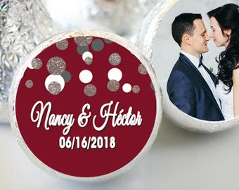 108 Wedding Hershey Kiss® Stickers - Hershey Kiss Stickers - Hershey Kiss Labels -  Candy Stickers - Burgundy & Silver Dots Hershey® favors