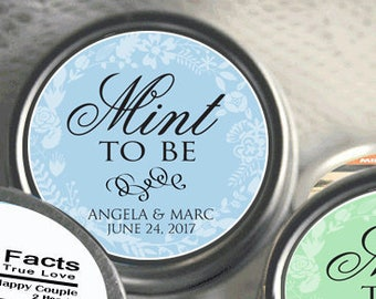Mint To Be Wedding Favors - Engagement Party Decor - Personalized Wedding Favors - Wedding Decor - 12 Tin Mint Favors  - Wedding Mint Tins