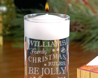 Happy Holidays Floating Candle - Christmas vase - Christmas Cylinder - Holiday Decor - Christmas Decor - Eat Drink and Be Merry