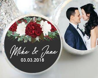 108 Winter Wedding Hershey Kiss® Stickers - Hershey Kiss Stickers - Hershey Kiss Labels -  Candy Stickers - Rustic Wedding  Hershey® favors