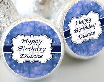 108 Birthday Hershey Kiss® Stickers - Birthday Hershey Kiss Stickers- Gold Birthday Kiss Labels - Hershey Kiss Seals - Candy Stickers - Navy