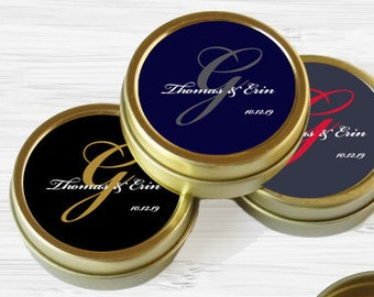 12 Personalized Gold Favor Tins - Gold Wedding Favor Tins - Gold Mint Tins - Monogram Wedding Favors - Wedding Decor - Gold Wedding Favors