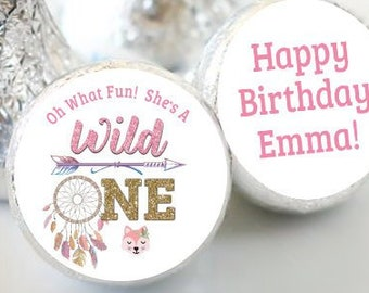 Personalized Pink Dream Catcher Wild One Birthday Favors - Wild One Girls Party Favors - Hershey® Kiss Stickers - 108 Stickers
