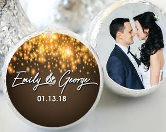 108 Winter Wedding Hershey Kiss® Stickers - Hershey Kiss Stickers - Hershey Kiss Labels -  Candy Stickers - Gold Sparkle Hershey® favors