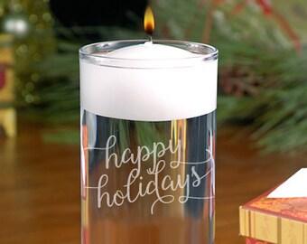 Happy Holidays Floating Candle - Christmas vase - Christmas Cylinder - Engraved Holiday Vase - Holiday Decor - Christmas Decor
