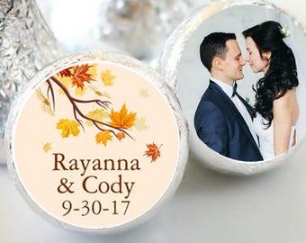 108 Fall Leaves Hershey Kiss® Stickers - Hershey Kiss Stickers Wedding - Personalized Hershey Kiss Labels - Hershey Kiss Seals - Fall Theme