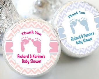 Baby Feet Baby Shower Favors - Baby Feet Party Favors - Hershey® Kiss Stickers - Kiss Seals - 108 Stickers - Baby Shower Candy Sticker