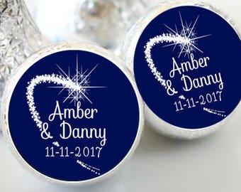 108 Hershey Kiss® Stickers - Hershey Kiss Stickers Wedding - Thank You  - Hershey Kiss Seals - Shooting Star - Stars
