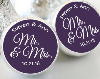 Hershey Kiss® Stickers - Wedding Favors, Shower Favors, Mr & Mrs Kiss Seals, Kiss Labels, Candy Labels, Personalized Kiss Labels