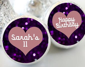 108 Hershey Kiss® Stickers, Purple Heart Hershey Kiss Stickers Birthday, Personalized Kiss Labels, Wedding Favors, Name, Date. Kiss Seals