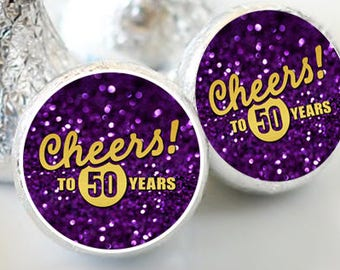 108 Purple Glitter and Gold Hershey Kiss® Stickers - Cheers to 50 Years - Personalized Hershey Kiss Labels - Hershey Kiss Seals