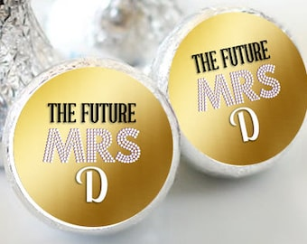 108 Bridal Shower Future Mrs Hershey Kiss Stickers  - Bridal Shower Kiss Labels - Future Mrs Kiss Labels - Bridal Shower Decor - Mrs Kisses