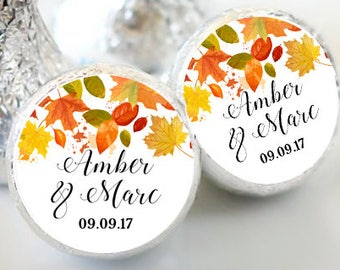 108 Fall Leaves Hershey Kiss® Stickers - Hershey Kiss Stickers Wedding - Fall Wedding Favors - Personalized Wedding Favors - Fall Leaves