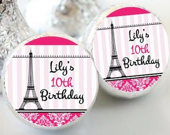 Personalized Eiffel Tower Themed Pink Striped Birthday Favors - Paris Party Favors - Hershey® Kiss Stickers - 108 Stickers