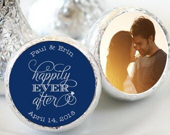"Personalized Happily Ever After Hershey Kiss® Stickers | Personalized Wedding Favors for Kisses| Hershey Kiss Labels | 3/4"" Stickers"