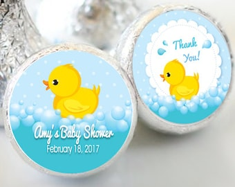Rubber Ducky Baby Shower Favors - Rubber Ducky Party Favors - Hershey® Kiss Stickers - Kiss Seals - 108 Stickers - Baby Shower Candy Sticker