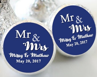 108 Hershey Kiss® Stickers - Mr and Mrs - Candy Labels - Wedding Kiss Labels - Wedding Favors - Hershey® - Wedding Decor - Kiss Seals