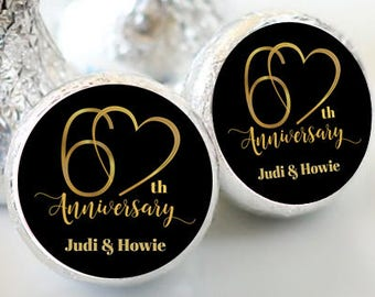 216  Hershey Kiss® Stickers - Hershey Kiss Stickers Bridal Shower - 60th Anniversary Kiss seals  - 60 years Kiss Labels  - Wedding Decor