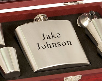 Laser Etched Flask - Stainless Steel Flask & Shot Glasses Set - In Wood Gift Box - Groomsman Gift - Wedding Party Gift - Christmas Gift