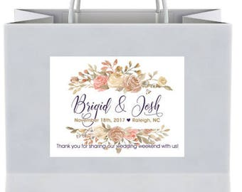 "4"" x 3""  Personalized Welcome Box Labels -  30 Wedding Welcome Bag Labels - Favor Labels - Welcome Stickers - Box Stickers - Fall Roses"