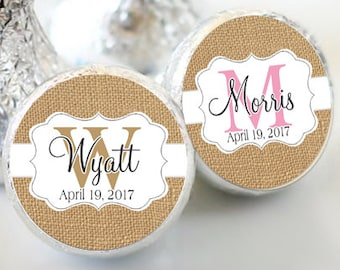 Baby Shower Favors - Burlap and Lace Baby Shower Kiss Labels - Baby Shower Favors - Hershey® Kiss Stickers - Kiss Seals - 108 Stickers