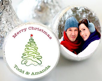 108 Merry Christmas Hershey Kiss® Stickers - Hershey Kiss Stickers Christmas - Hershey Kiss Labels - Merry Christmas - Wedding Christmas