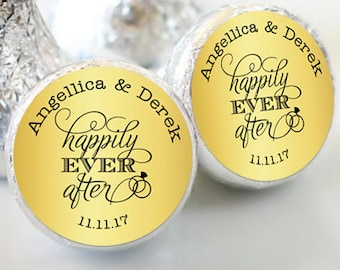 Happily Ever After Gold  Hershey Kiss® Stickers - Hershey Kiss Stickers Wedding - Hershey Kiss Labels - Wedding Favors - Candy Stickers
