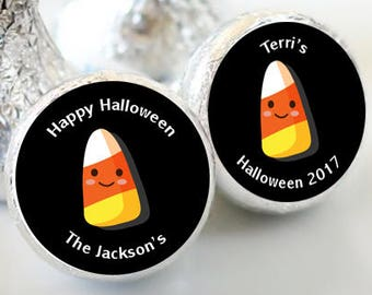 108 Halloween Hershey Kiss® Stickers - Hershey Kiss Stickers  - Candy Corn Kiss Stickers  - Happy Halloween  - Trick or Treat