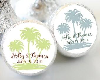 108 Custom Wedding Palm Tree Hershey Kiss® Stickers - Bridal Shower, Stickers, Palm Tree Kiss Labels, Party Favors, You pick the colors