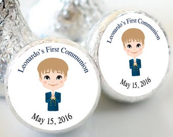 First Holy Communion, Kiss Stickers, Boys Holy Communion Stickers, Communion Favors, Party Favors, Candy Kiss Sticker, (Set of 108)