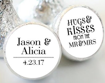 108 Wedding Hershey Kiss® Stickers - Names and Date Stickers  - Personalized Hershey Kiss Labels - Hershey Kiss Seals - Hugs  and Kisses