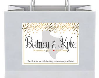 "4"" x 3""  Personalized Welcome Box Labels -  30 Wedding Welcome Bag Labels - Favor Labels - Welcome Stickers - Box Stickers - Gold Dots Texas"