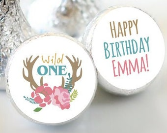 Wild One Birthday Favors - Wild One Girls Party Favors - Kiss  Birthday Favors - Hershey® Kiss Stickers - Kiss Seals - 108 Stickers